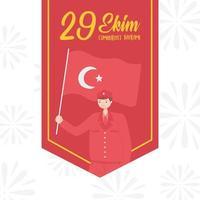 día de la república de turquía. soldado colgante con bandera vector