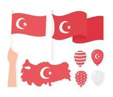 día de la república de turquía. mapa, banderas, globos e iconos vector