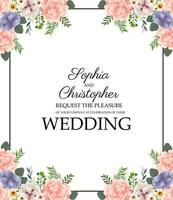 Wedding Invitation with floral frame vector