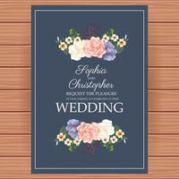 Wedding Invitation with floral decoration vector