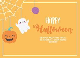 Happy Halloween. Hanging pumpkin, ghost, and candy