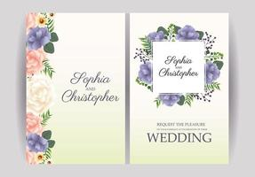 Yellow pastel wedding Invitation with flowers set vector