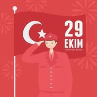 día de la república de turquía. soldado saludando con la bandera de la nación vector