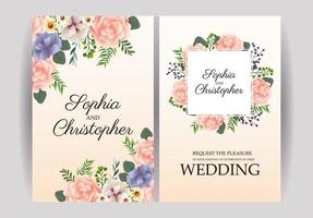 Wedding Invitation with pastel flowers  vector
