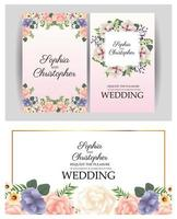 Wedding invitation with floral frames set vector