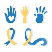 World down syndrome day. Handprints and awareness ribbon