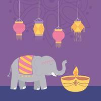 feliz festival de diwali. elefante, lámpara diya y linternas