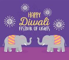 Happy Diwali festival. Elephants and flowers card vector