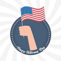Happy veterans day. Hand holding American flag vector