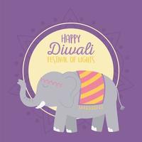 tarjeta de feliz diwali festival con elefante