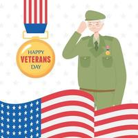 Happy veterans day. US soldier, medal, and flag vector