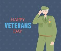 Happy veterans day. US military soldier character vector