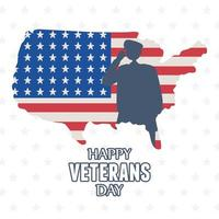 Happy veterans day. Soldier silhouette on American map vector