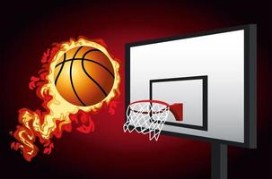 Basketball tournament banner with ball on fire