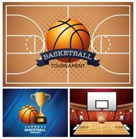 ensemble de bannière de tournoi de basket-ball vecteur