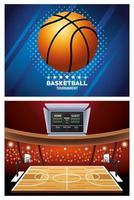 Basketball tournament banner set  vector