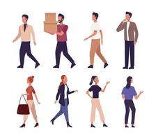 Set of young people walking  vector