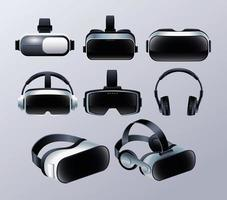Set of Virtual Reality Masks and Earphones Accessories vector
