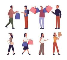 Set of young people shopping  vector