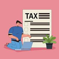 Young man doing taxes online vector