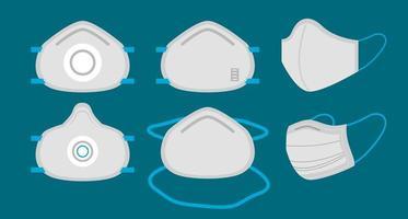 Set of medical face masks  vector