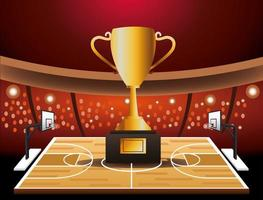 Basketball tournament banner with trophy vector