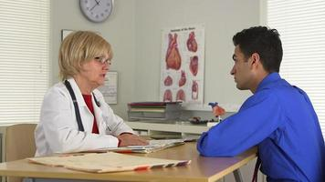Doctor talking to patient at desk