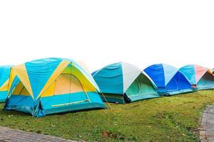 group of tourist tent isolated on white photo