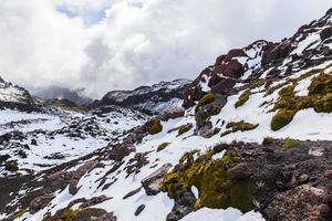 Fresh snow on rocks, photo