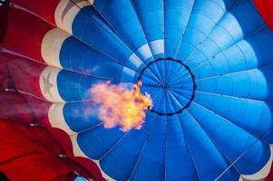 Inside of a hot air balloon with flame photo