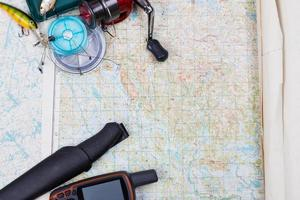 fishing journey with tackles and gps navigator photo