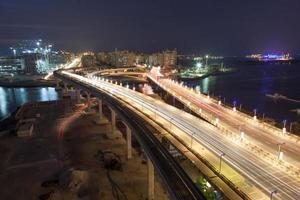 Palm Jumeirah Highway at night photo
