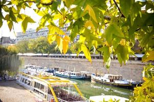 Boat docking at the Canal of Paris river seine