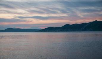 Bay at sunset near Methoni, Peloponnese, Greece photo