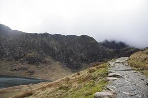 Mountain path to the peak, Snowdonia national park, England photo