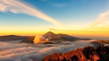 Mt.Bromo,Mt.Semeru,Mt.Batok covered with fog and sulfur gas.