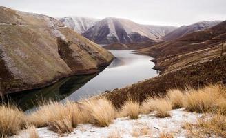 Reservoir Snake River Canyon Cold Frozen Snow Winter Travel Land