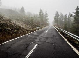 Foggy road to volcano Teide