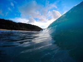 Wave coming in to the beach in Hawaii