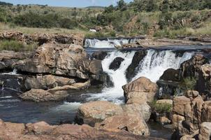 waterfall at the bourkes potholes in south africa