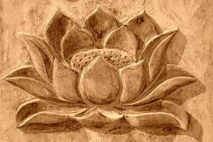 carved lotus in the gray rock