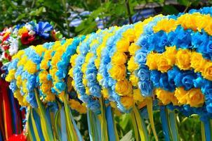 Traditional ukrainian wreath in trade fair photo