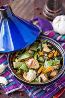 Oriental stew with meat, vegetables, green beans, carrot