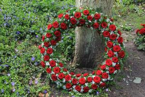 Funeral red rose wreath near a tree