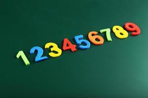 números coloridos en la junta escolar
