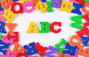 Plastic colored alphabet letters ABC on a white