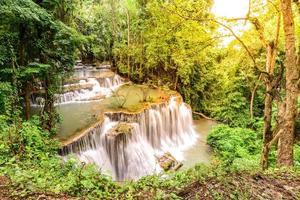 Huay Mae Kamin Waterfall in Kanchanaburi, Thailand.