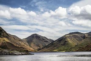 Stunning landscape of Wast Water with reflections in calm lake photo