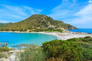 Beach at Punta Molentis bay on sunny day, Sardinia island