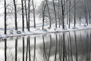 Winter landscape with reflection - stock photo.